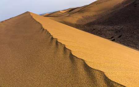 ou: Close ou pf the stunning sand dunes in  the Natural Reserve of Dunes of Maspaloma in Gran Canaria Stock Photo
