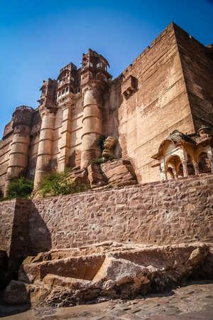 impressive: Impressive Fort above blue city Jodhpur in India