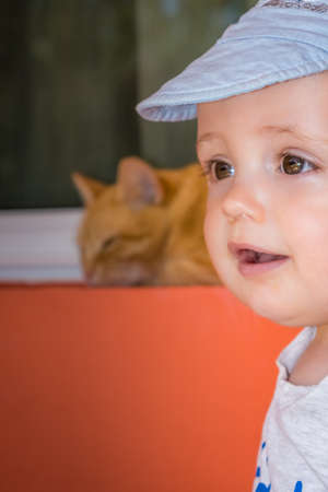 mischevious: Portrait of a happy little boy looking curiously at a cat Stock Photo