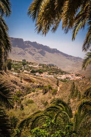 Vertical picture of a beautiful small town of Fataga in Gran Canaria Canary Islands Spain photo