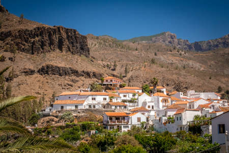 View of the tiled roofs oh homes in a small town of Fataga in Gran Canaria Canary Islands Spain photo