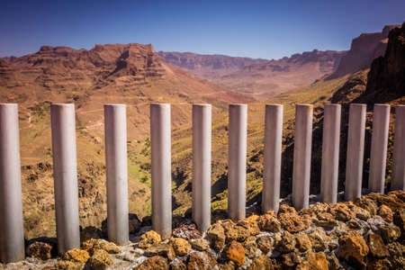 Barriers on the scenic lookout in Gran Canaria Spain photo