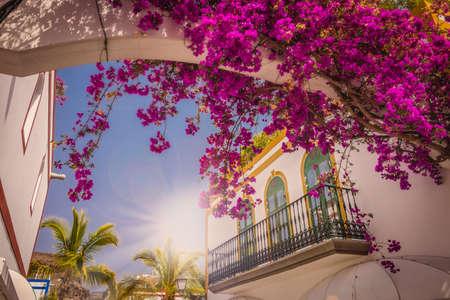 Windows in een van de huizen in Puerto de Mogan Gran Canaria Spanje
