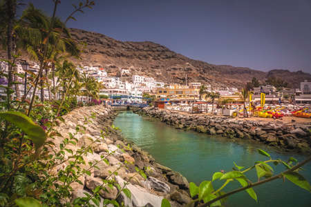 canaries: Small river canal in the Puerto de Mogan a small fishing port in Gran Canaria  called the Venice of Canaries  Canary Islands Spain