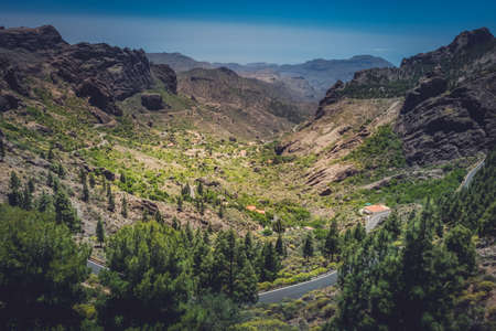 Winding road through the stunning mountain and volcanic landscape of Gran Canaria Spain photo
