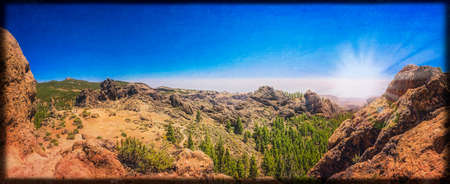 tableau: Panoramic view from the plateau from Roque Nublo Gran Canaria Spain