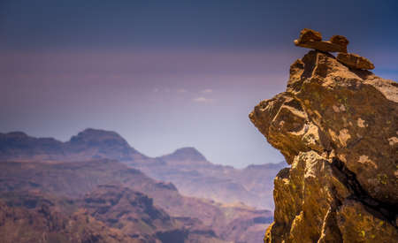 tableau: Rocks on the plateau from Roque Nublo Gran Canaria canary islands Spain Stock Photo