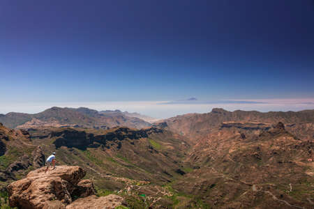 tableau: Panoramic view from the plateau from Roque Nublo