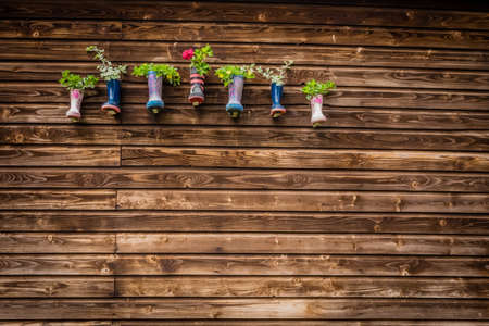 wellies: Display of flowers in kids wellies hanged on a barn wall on a farm