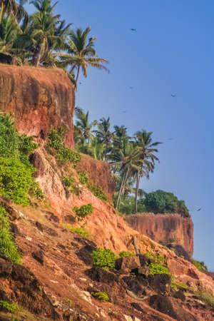 varkala: Stunning red cliffs at the beautiful Varkala seaside India