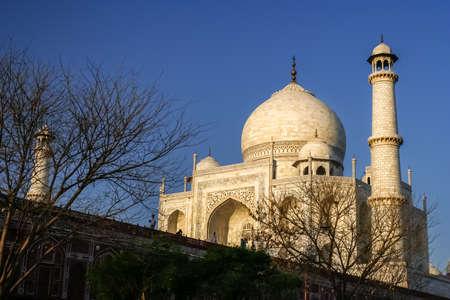 minarets: Tall minarets at Taj Mahal - mausoleum at Agra in northern India