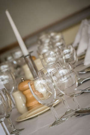 wine glasses: Wine glasses on the table before wedding dinner Stock Photo