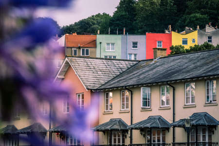hillside: Colorful homeson a hillside in Bristol, England, UK