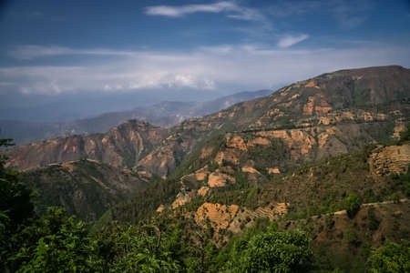 other side of: Mountain landscape as seen on the other side of Daman Pass, Nepal Stock Photo