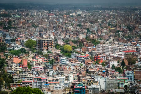cramped: Aerial view of Kathmandu - the capital of Nepal