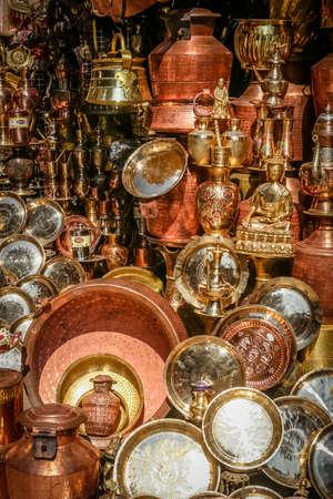 metalware: Brass pots on sale in Kathmandu Nepal