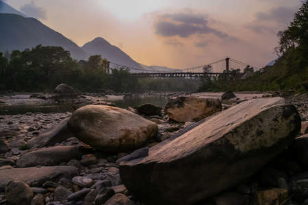 br: Bridge over river in the remote part of Nepal