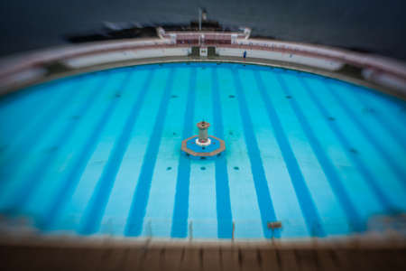 lido: Tinside Lido in Plymouth on a rainy day, England