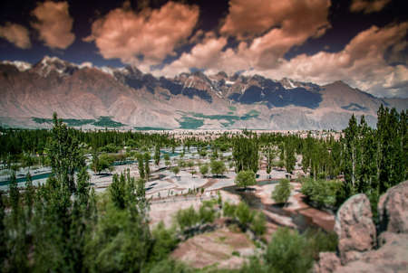 fertile: Beautiful green and fertile mountain valley in the Karakorum mountains in Pakistan, Skardu region