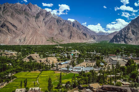 highlands region: Beautiful green and fertile mountain valley in the Karakorum mountains in Pakistan, Skardu region