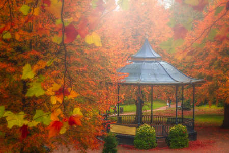 arbor: Arbor in a beautiful park in autumn, Colchester, England, UK