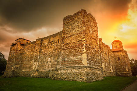 Old Castle in Colchester during sunset, England, UK