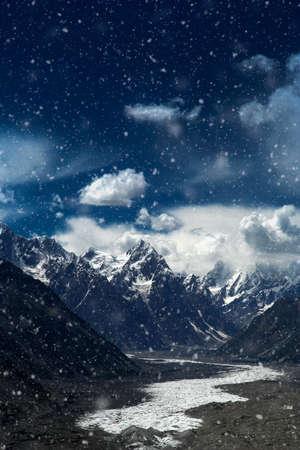 impressive: View of the end of the impressive Batura glacier in the Passu region in Karakorum, Northern Pakistan
