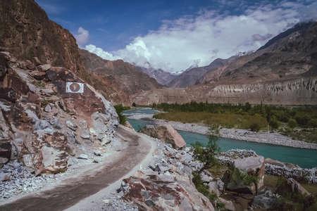 dangerous road: Winding and dangerous road from Gilgit to Chitral in Karakorum mountains in Pakistan