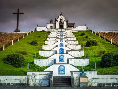 senhora: Our Lady of Peace ( Nossa Senhora da Paz ) chapel above the city of Vila Franca do Campo in Sao Miguel, Azores, Portugal