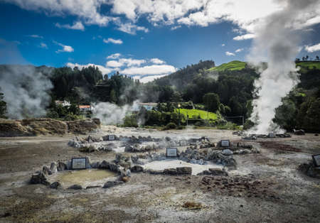 Geothermal hot water hole in Furnas, Sao Miguel, Azores, Portugal Stock Photo