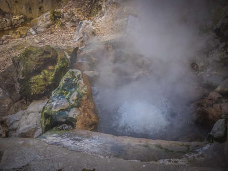 hot water geothermal: Geothermal hot water hole in Furnas, Sao Miguel, Azores, Portugal Stock Photo