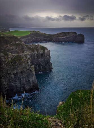 stunningly: Cliffs of the stunningly beautiful coastline of Sao Miguel Island in the Azores, Portugal