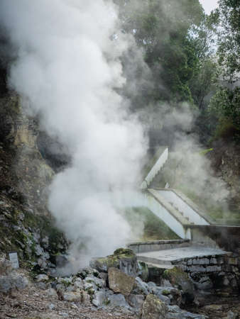 the water hole: Geothermal hot water hole in Furnas, Sao Miguel, Azores, Portugal Stock Photo