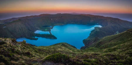crater lake: Stunningly beautiful volcanic crater lake Lagoa do Fogo ( Fire Lake ), Sao Miguel, Azores, Portugal. Stock Photo