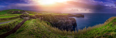 stunningly: Panoramic view of the stunningly beautiful coastline of Sao Miguel Island in the Azores, Portugal Stock Photo