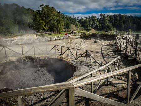 hot water geothermal: Geothermal hot water holes in Furnas, Sao Miguel, Azores, Portugal. These are used for cooking the traditional stew which is left and buried inside them for few hours.