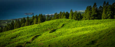 Beautiful green rolling hills on the Sao Miguel countryside, Azores archipelago, Portugal