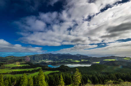 crater lake: Stunningly beautiful volcanic crater Furnas Lake, Sao Miguel, Azores, Portugal. Stock Photo