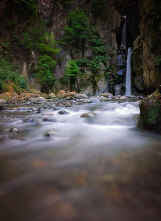 tier: Two tier waterfall in a gorge,  Sao Miguel Island, Azores, Portugal Stock Photo
