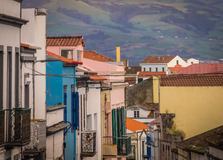 urbanized: Traditional homes on a street of Ponta Delgada, Azores, Portugal
