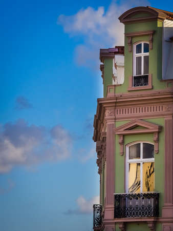 restored: View of the front windows of a restored old home in Ponta Delgada, Azores, Portugal