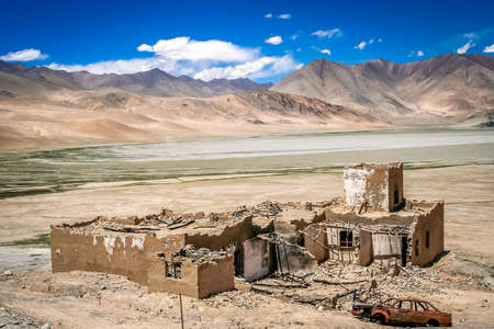 eyesore: Damaged and destroyed homes on the roadside of the Karakorum Highway, Xinjang province, China