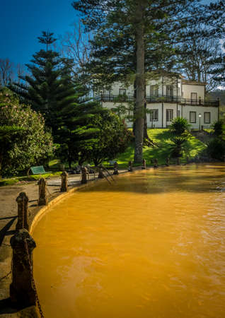 therapeutical: Ferruginous hot water spring pool in Furnas,  Sao Miguel Island, Azores, Portugal