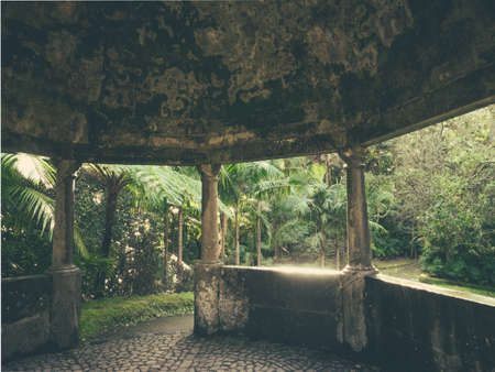 terra: Concrete arbor like structure in The Terra Nostra Garden in Furnas, on Sao Miguel island, Azores, Portugal