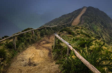 azul: Walking path to the viewpoint of the Sete Cidades twin crater lakes,  Lagoa Verde and Lagoa Azul, Sao Miguel Island, Azores, Portugal