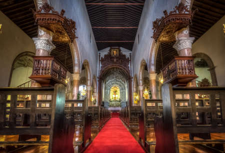 lavish: Beautiful interior of the Church of San Sebastian in Ponta Delgada, Sao Miguel Island, Azores, Portugal Editorial