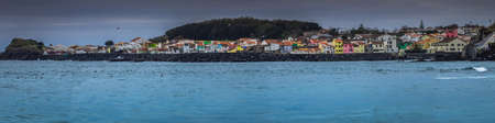 portugese: Panoramic view of the colorful homes on the coast in Ponta Delgada, Sao Miguel, Azores, Portugal