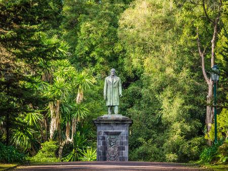 canto: Man sculpture in theJosé do Canto Botanical Garden in Ponta Delgada, the capital of Sao Miguel island, Azores, Portugal