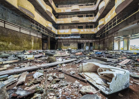 Interior of the ruined abandoned hotel on Sao Miguel island, Azores, Portugal