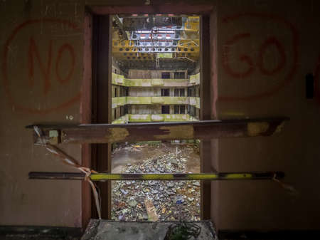 eyesore: Interior of the ruined abandoned hotel on Sao Miguel island, Azores, Portugal